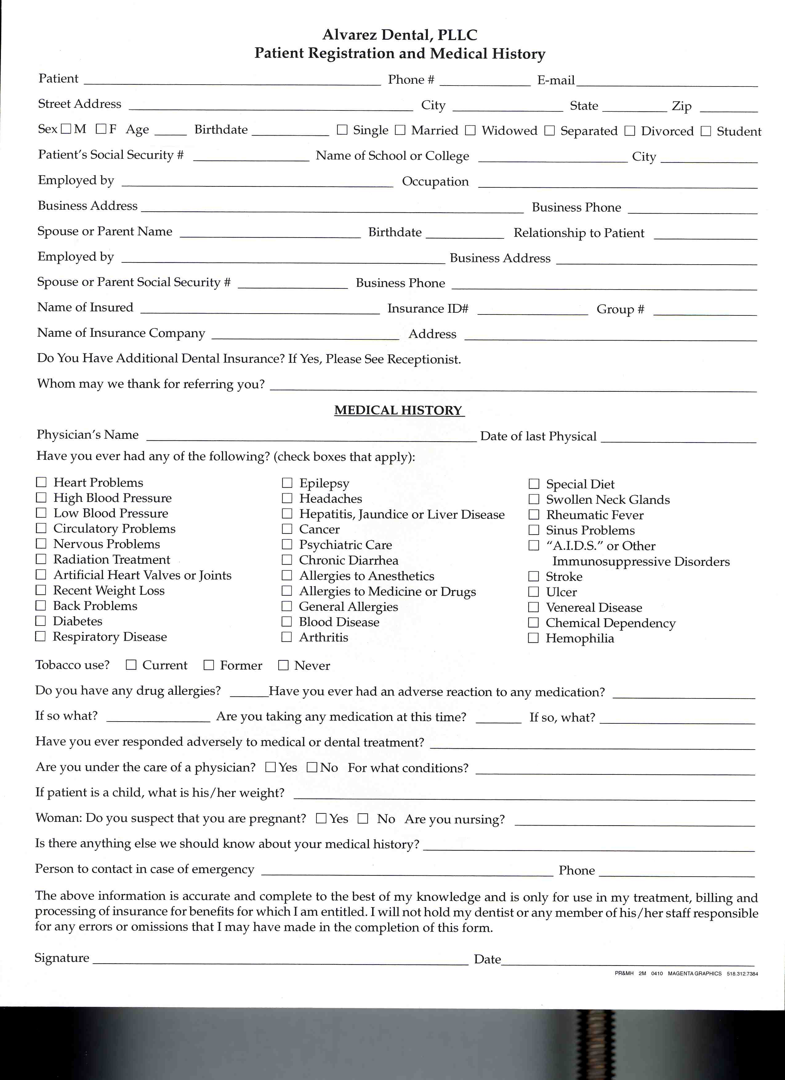 Dentists in albany ny spanish hippa oral hygiene questionaire new patient forms altavistaventures Image collections